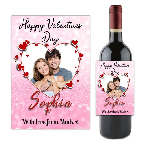 Personalised Valentines Day Photo Loveheart Wine / Champagne Bottle Label for him her N181